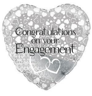 "Entwined Hearts Engagement 18"" Foil Balloon (Deflated)"