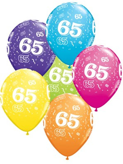 "Age 65 Latex 11"" Balloons 6pk"