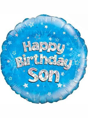 """18"""" Blue Holographic Son Foil Balloon (Deflated)"""