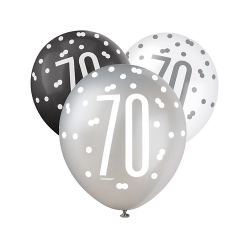 Black, Silver & White Glitz 70th Birthday Latex Balloons 6pk