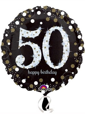 "50th Birthday Black and Gold Celebration 18"" Foil Balloon (Deflated)"