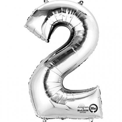 "Silver Number 2 Foil Balloon 34"" (Deflated)"