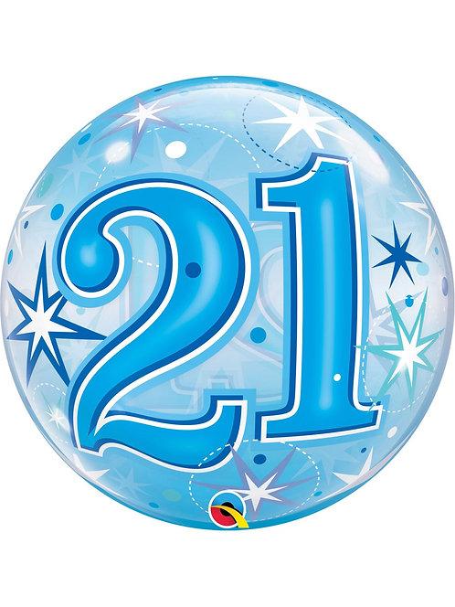 "Blue 21st Birthday Sparkle 22"" Bubble Balloon"