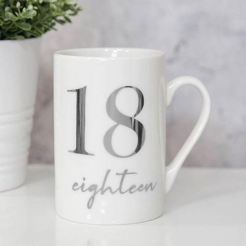 18th Milestones Bone China 11oz Mug with Silver Foil