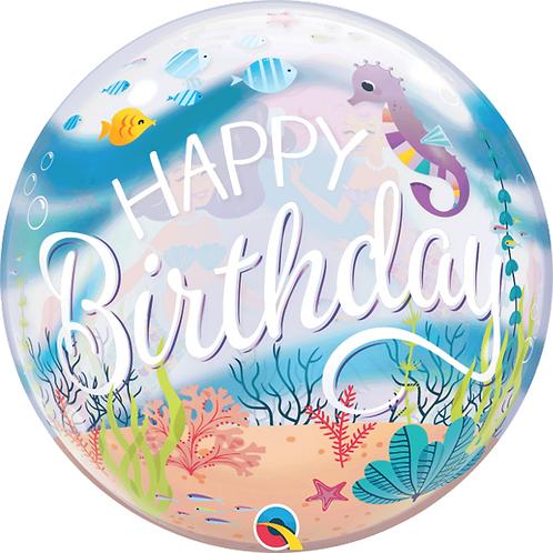 "Happy Birthday Ocean Bubble Balloon 22"" (Deflated)"