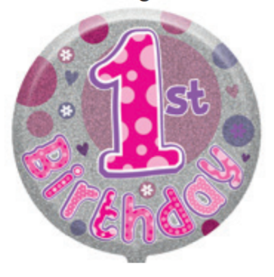 "1st Birthday Female 18"" Foil Balloon (Deflated)"