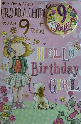 Granddaughter's 9th Birthday Card