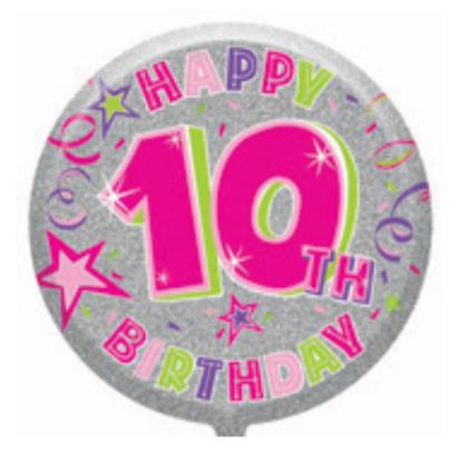 "10th Birthday Female 18"" Foil Balloon"
