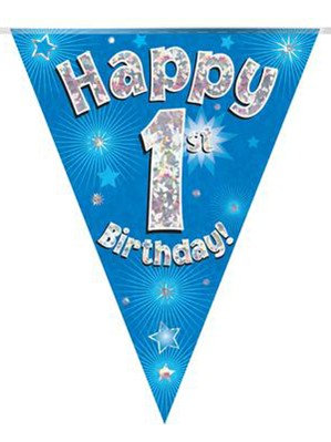 Ages 1 to 15 Birthday Blue Holographic Bunting