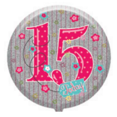 "15th Birthday Female 18"" Foil Balloon (Deflated)"