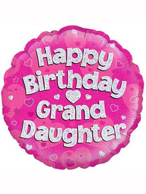 """18"""" Pink Holographic Granddaughter Foil Balloon (Deflated)"""