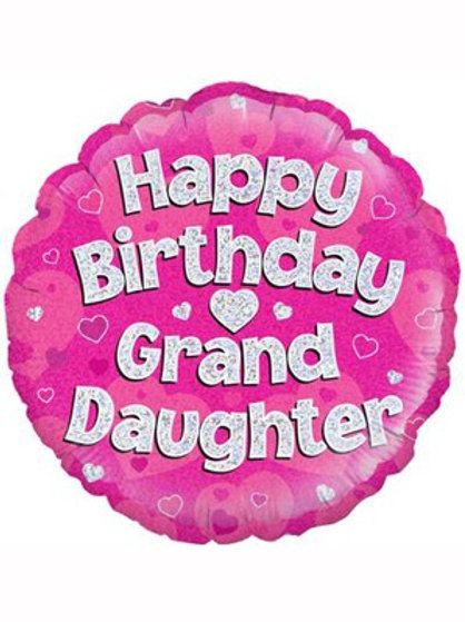 "18"" Pink Holographic Granddaughter Foil Balloon (Deflated)"