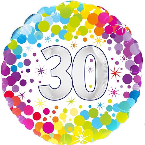 30th Rainbow Dots Foil Balloon