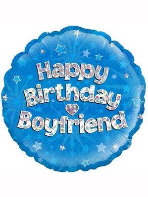 "18"" Blue Holographic Boyfriend Foil Balloon"