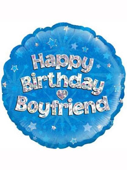 "18"" Blue Holographic Boyfriend Foil Balloon (Deflated)"