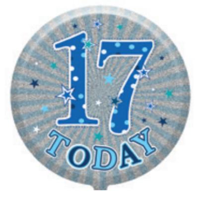 "17th Birthday Male 18"" Foil Balloon"