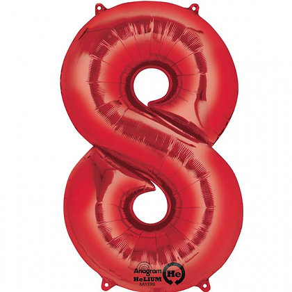 """Red Number 8 Foil Balloon 34"""" (Deflated)"""