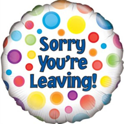 "Sorry You're Leaving Dotty 18"" Foil Balloon (Deflated)"