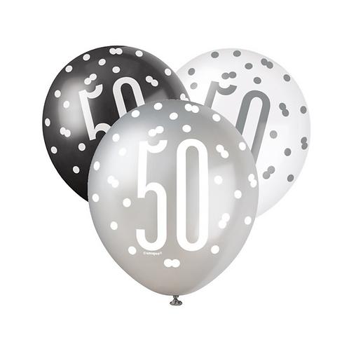 Black, Silver & White Glitz 50th Birthday Latex Balloons 6pk