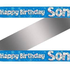 Son Birthday Blue Holographic Banner