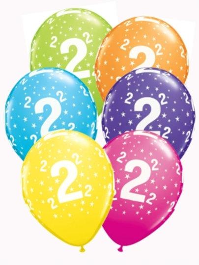 "Age 2 Latex 11"" Balloons 6pk"