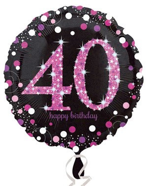 """40th Birthday Black and Pink Celebration 18"""" Foil Balloon"""