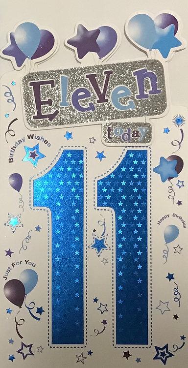 11th Male Birthday Card