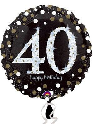 "40th Birthday Black and Gold Celebration 18"" Foil Balloon"