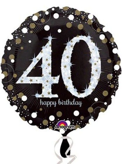 "40th Birthday Black and Gold Celebration 18"" Foil Balloon (Deflated)"