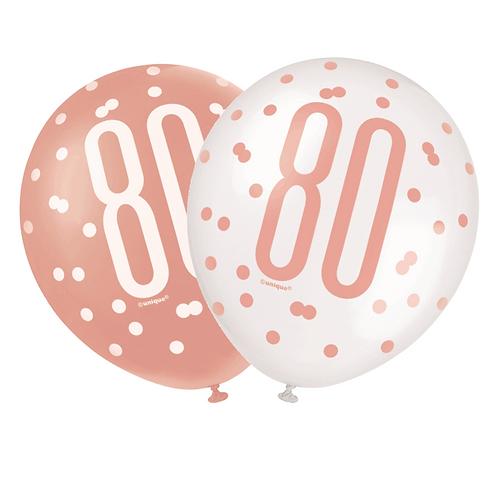 Rose Gold Glitz 80th Birthday Latex Balloons 6pk