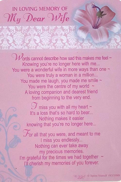 In Loving Memory Of My Dear Wife