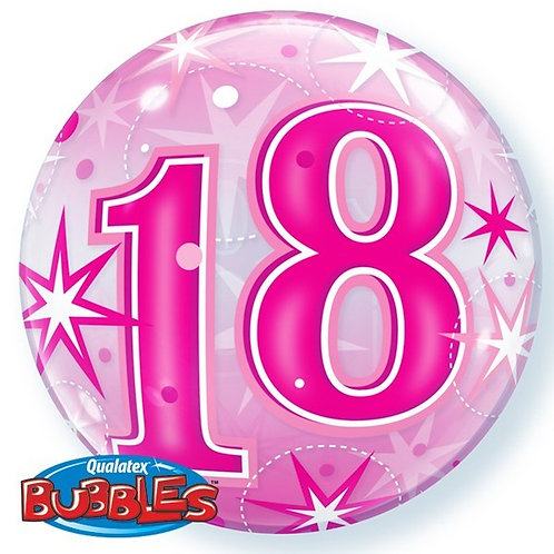 """Pink 18th Birthday Sparkle Bubble Balloon 22"""" (Deflated)"""