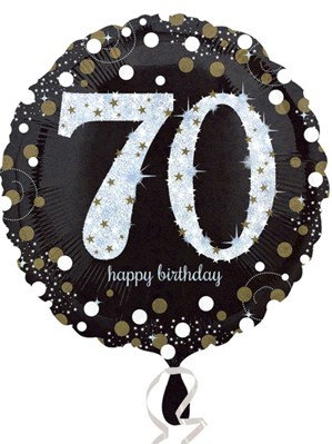"70th Birthday Black and Gold Celebration 18"" Foil Balloon"