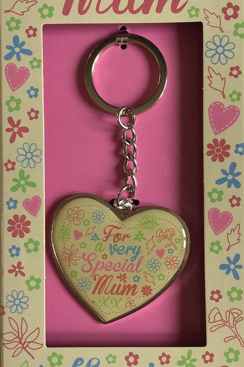 Special Mum Heart Shaped Keyring