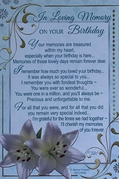 In Loving Memory On Your Birthday