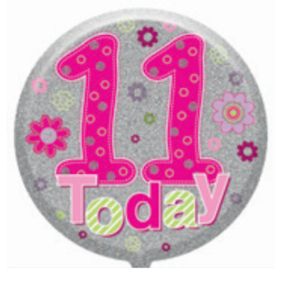 "11th Birthday Female 18"" Foil Balloon"
