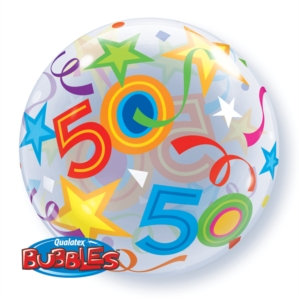 "50th Birthday Bubble Balloon 22"" (Deflated)"