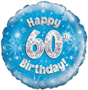 """18"""" Blue Holographic 60th Birthday Foil Balloon (Deflated)"""