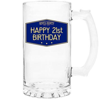 Gents Society Happy 21st Birthday Tankard