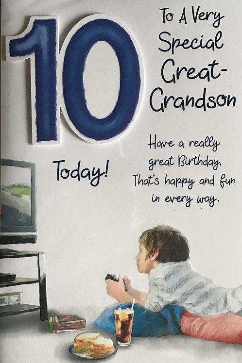 Great Grandson's 10th Birthday Card