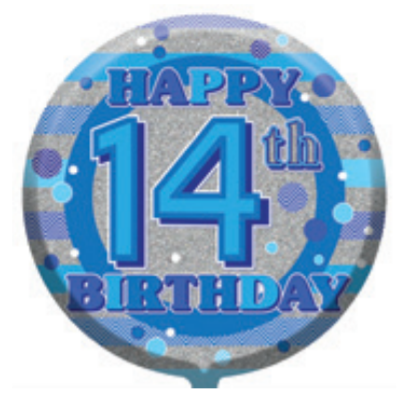 "14th Birthday Male 18"" Foil Balloon"