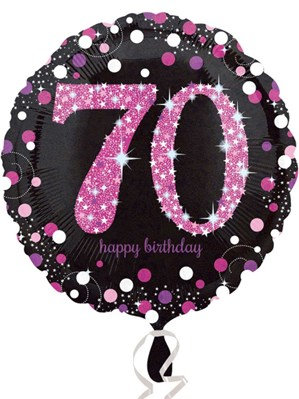 "70th Birthday Black and Pink Celebration 18"" Foil Balloon (Deflated)"