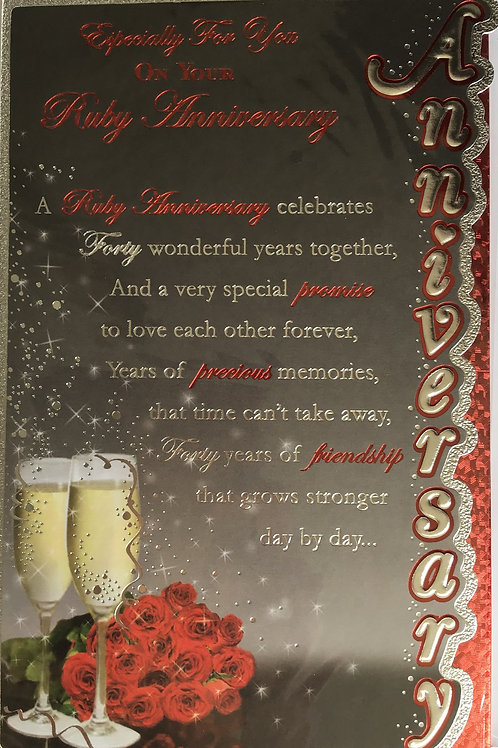 Ruby Anniversary Card (40 Years)