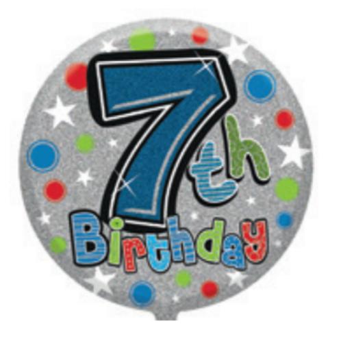 "7th Birthday Male 18"" Foil Balloon (Deflated)"