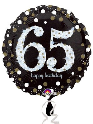 "65th Birthday Black and Gold Celebration 18"" Foil Balloon (Deflated)"
