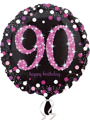 "90th Birthday Black and Pink Celebration 18"" Foil Balloon (Deflated)"