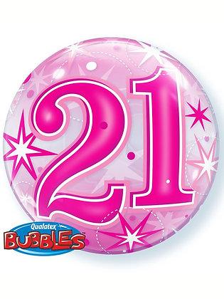 "Pink 21st Birthday Sparkle Bubble Balloon 22"" (Deflated)"