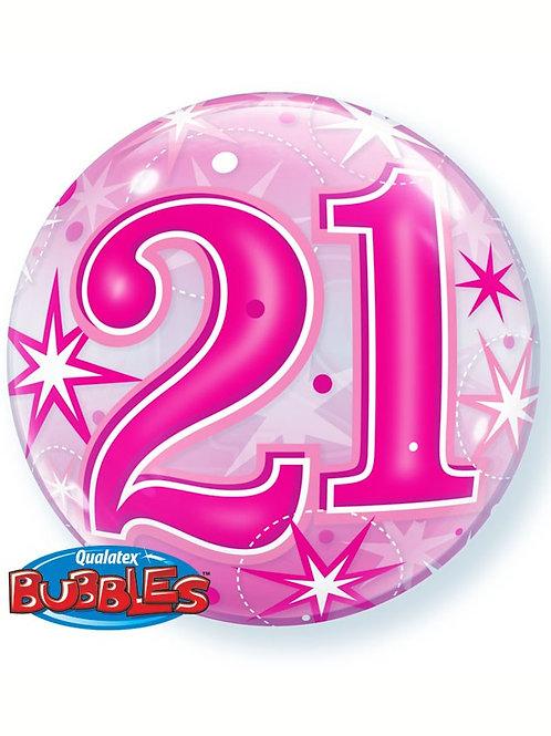 """Pink 21st Birthday Sparkle 22"""" Bubble Balloon"""