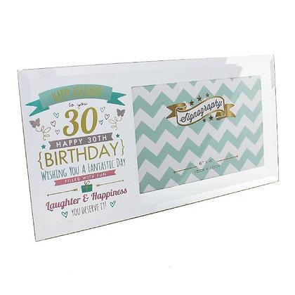 "6"" x 4"" - Signography 30th Birthday Glass Frame"