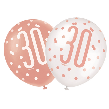 Rose Gold Glitz 30th Birthday Latex Balloons 6pk